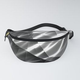 Exclusive glowing mosaic pattern of chaotic black and white fragments of glass, metal and ice floes. Fanny Pack