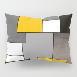 Black Yellow and Gray Geometric Art Pillow Sham