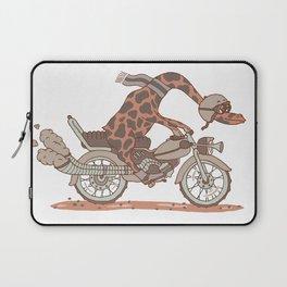 Giraffe on a motorbike Laptop Sleeve