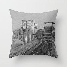 Black & White Harvesting Equipment Pencil Drawing Photo Throw Pillow