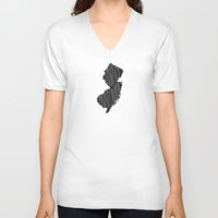 new jersey V-neck T-shirts featuring New Jersey Motto - Black by Oh Happy Roar - Emily J. Stivers
