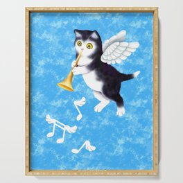 Black and White Cherub Kitten Playing a Horn Serving Tray