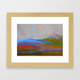 Clouds Rolling In Abstract Landscape Turquoise Framed Art Print