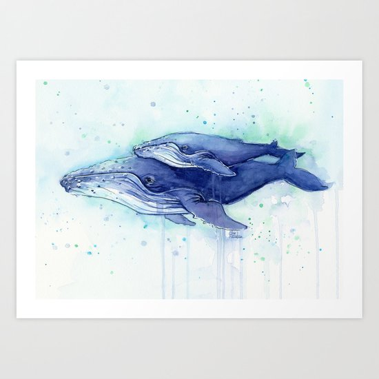 Humpback Whale Watercolor Mom and Baby Painting Whales Sea Creatures by olechka