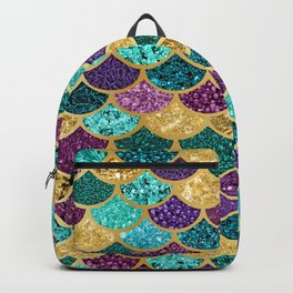 Glitter Blues, Purples, Greens, and Gold Mermaid Scales Backpack