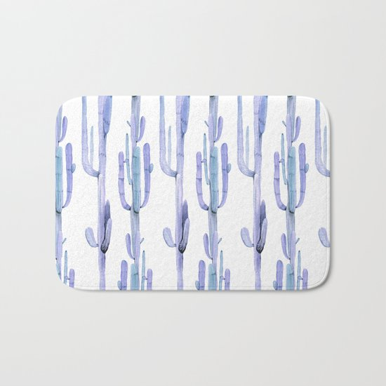 Blue Cactus Stack Pattern Bath Mat