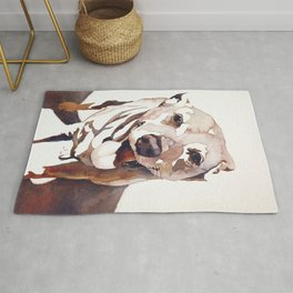 Watercolor painting of dog.   Animal artwork fine art painting dog watercolor print Rug