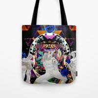 coven Tote Bags featuring Surrealist's Coven by Nicholas Lucius.
