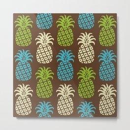 Retro Mid Century Modern Pineapple Pattern 83 Metal Print