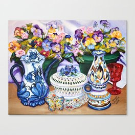 Pansies and Teapot oil Still Life Canvas Print