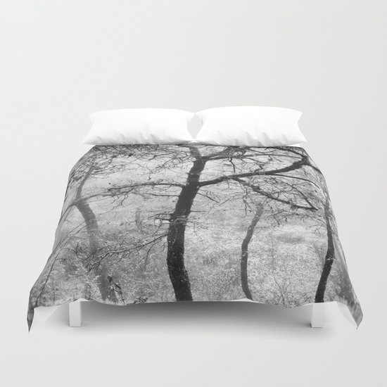 """Into the woods III"". Foggy forest Duvet Cover"