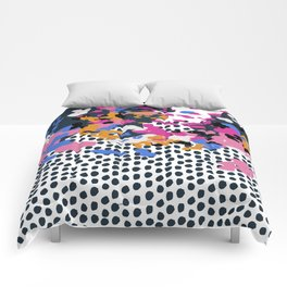 Kenzi - Flowers with Dots - Floral Abstract, graphic design print pattern Comforters