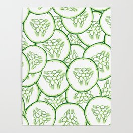 Cucumber slices pattern design Poster