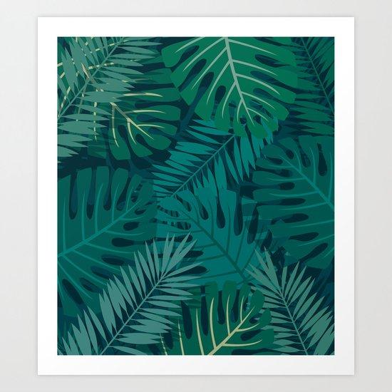 Dark Tropical Leaves Art Print