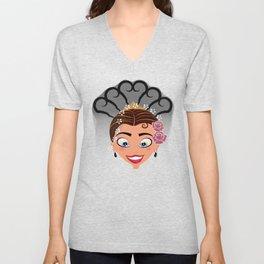 Tuti-Lady Flamenquerías/Character & Art Toy (Open eyes) Unisex V-Neck