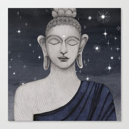 Buddha with stars Canvas Print