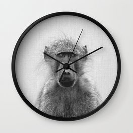 Baboon - Black & White Wall Clock