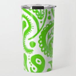 Handpainted Paisley Pattern Green Color Travel Mug