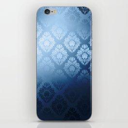 """""""Navy blue Damask Pattern"""" iPhone Skin"""
