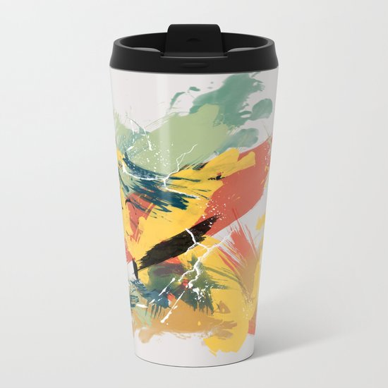 Intuitive Conversations, Abstract Mid Century Colors Metal Travel Mug