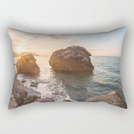 Rocky beach at sunset Rectangular Pillow
