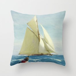 Vintage Sailing Sloop Yacht Painting (1910) Throw Pillow