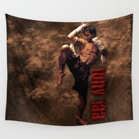 boxing Wall Tapestries featuring Ong bak Tony Jaa the Muang thai kick boxing Warrior by Three Second