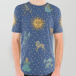 Vintage Astrology Zodiac Wheel All Over Graphic Tee