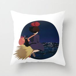 Witch at Night Throw Pillow