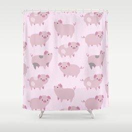 Cute Pink Piglets Pattern Shower Curtain