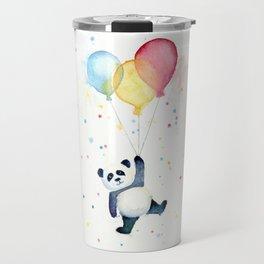 Birthday Panda Balloons Cute Animal Watercolor Travel Mug