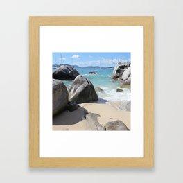 Scenic Beach at The Baths on Virgin Gorda, BVI Framed Art Print