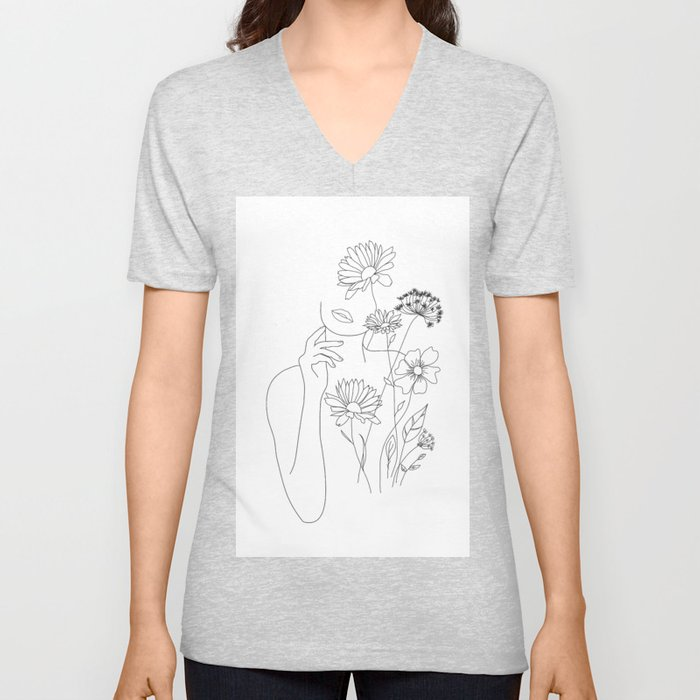 Minimal Line Art Woman with Flowers III Unisex V-Neck