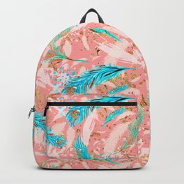 Feather peacock peach mint #10 Backpack