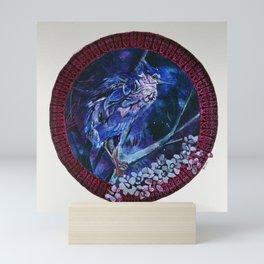 Dark-crowned Night Heron and Tamarisk Mini Art Print