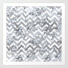 Vintage chic elegant blue gray white geometrical floral pattern Art Print