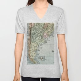 Vintage Map of the South of America Unisex V-Neck