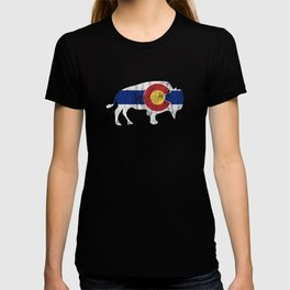 Native Colorado Gifts CO State Flag Colorado Pride Buffalo Reversed T-shirt