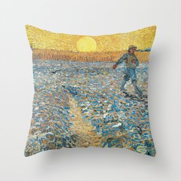 Van Gogh : The Sower (Sower with Setting Sun) Throw Pillow