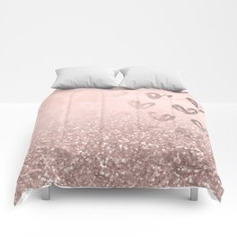 Rose Gold Sparkles on Pretty Blush Pink with Hearts Comforters