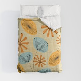 Retro Floral Pattern Yellow Comforters
