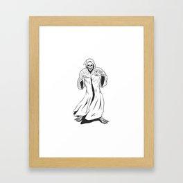 Grim reaper holding an hourglass -  black and white Framed Art Print