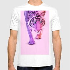 COLOR TIGER White Mens Fitted Tee MEDIUM