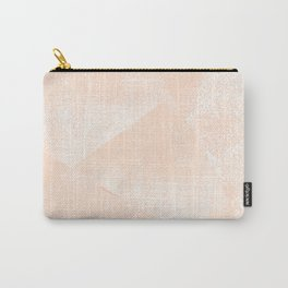 Peach/Apricot and White Geometric Triangles Lino Textured Print Carry-All Pouch