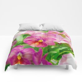 pansy in a garden Comforters
