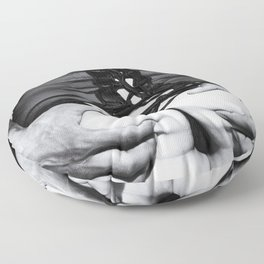 5066 Tattoo Squeeze ~ Black Eros White Love ~ Lingerie Fashion Art Erotica of a Woman & Black Male Floor Pillow