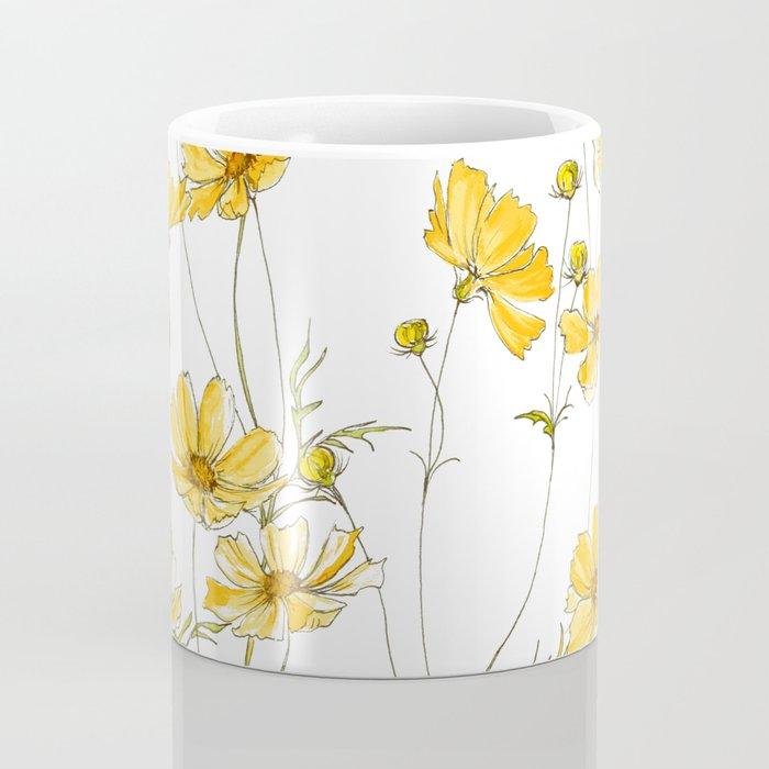 Yellow Cosmos Flowers Kaffeebecher