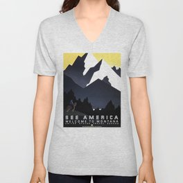 SEE AMERICA Welcome to Montana United States Travel Bureau Vintage Poster Unisex V-Neck