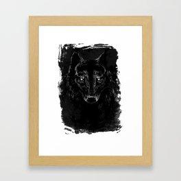 Black Wolf Portrait, dark variant Framed Art Print