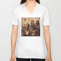 bag V-neck T-shirts featuring Victorian Wars  by Terry Fan